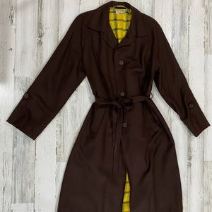 Vintage 70s 80s Plaid Lined Belted Trench Coat